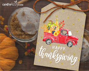 Thanksgiving Favor Tags - Farm Truck Happy Thanksgiving Tag - Pumpkin Gift Tag Labels - INSTANT DOWNLOAD - CraftyKizzy