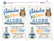 The Adventure Begins Boy Birthday Invitation - Wild One Printable Invitations - Woodland Owl - Twins