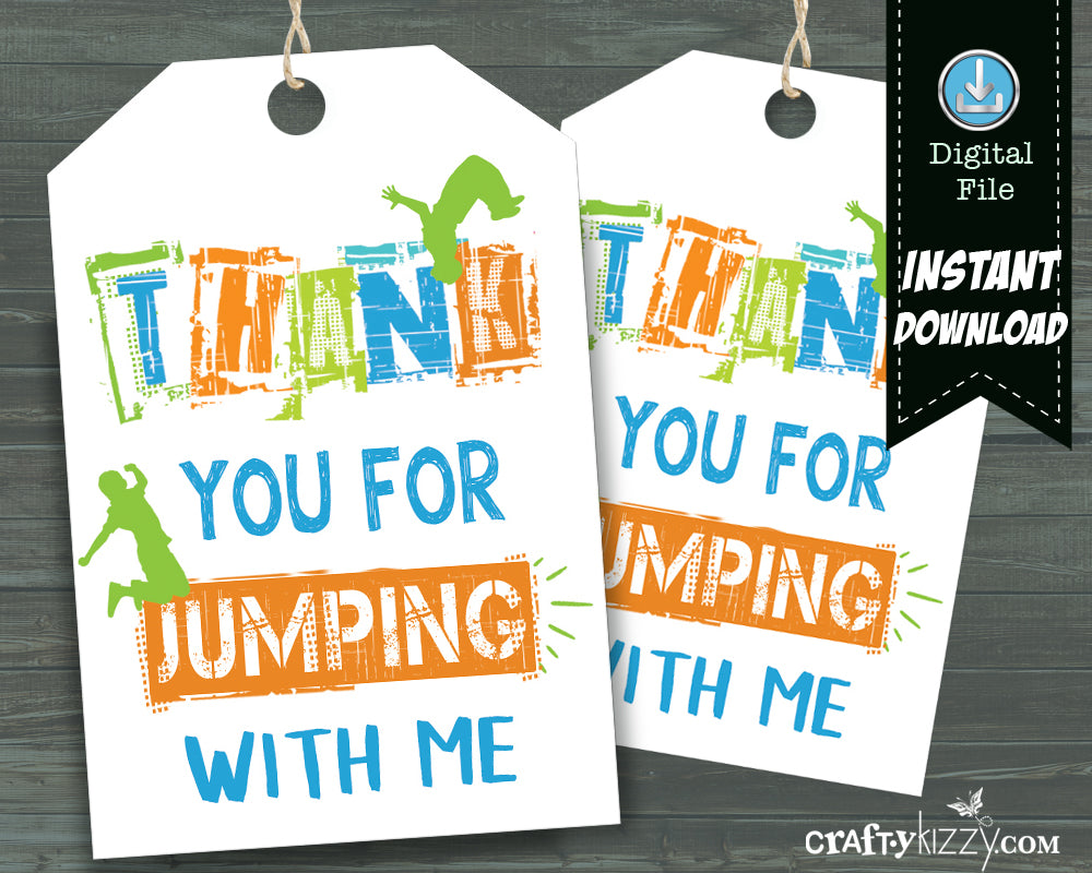 Jump Thank You Favor Tags - Trampoline Party Favors - Bounce House Tag - Orange Blue Green INSTANT DOWNLOAD - CraftyKizzy
