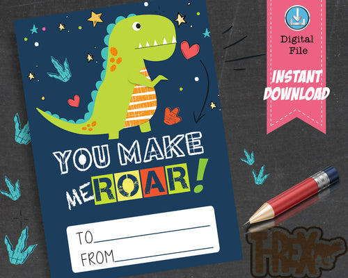 Printable Dinosaur Valentines Day Cards for kids - Boy Trex Valentine Exchange Cards You Make Me Roar - INSTANT DOWNLOAD - CraftyKizzy