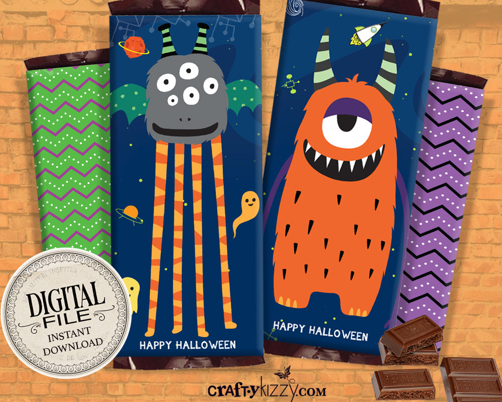 Monster Happy Halloween Chocolate Bar Wrapper Printable Favors - Alien Halloween Hershey's Bar Label - Classroom Trick or Treat Candy Favor - INSTANT DOWNLOAD