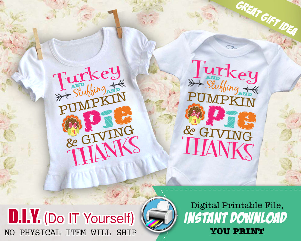 5d2b4a311 ... My First Thanksgiving Boy Iron On Printable Decal - Thanksgiving Outfit  DIY Shirt - Fall Color ...
