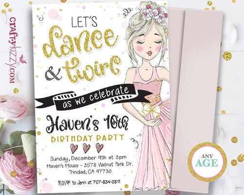 Ballerina Birthday Party Invitation - Tween Girl Ballet Dancer Invitations - Pink and Mauve Printable Invitations - CraftyKizzy