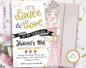 Tween ballet birthday invitations