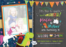 Unicorn and Dinosaur Joint Birthday Invitation - Modern Unicorns and Rainbows Invitations - Twins - Dino Party - Girl Boy - CraftyKizzy