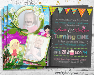 Twin Girl Fairy Birthday Invitations