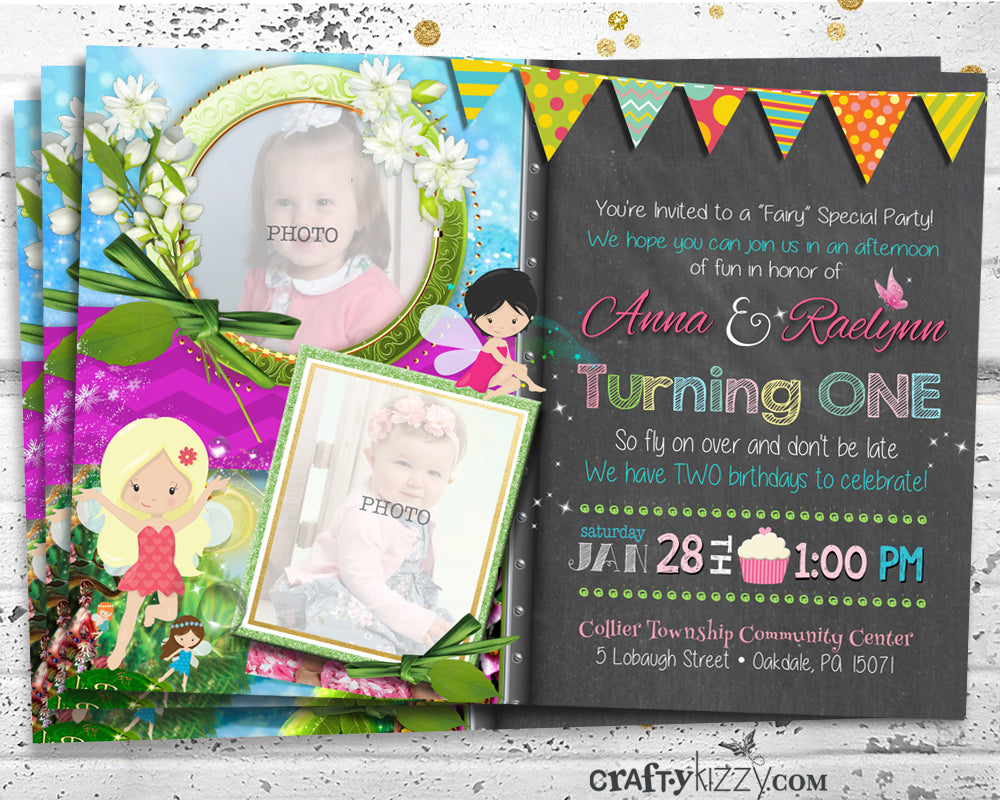 Twin Girl Fairy Birthday Invitations - Joint First Birthday Party Invitation - Whimsical Siblings Invite - Fairies Birthday Party Pixie Invitation