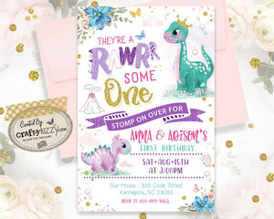 Pandemic Dinosaur Joint Birthday Invitation - Girl Dino Twin Birthday Parade Invitations - Dino Drive By Party Invitations - Pink Twins