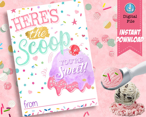 Here's the Scoop Girl Valentines Day Card - Girls Valentine's Day Cards Classroom Exchange Cards - INSTANT DOWNLOAD - CraftyKizzy