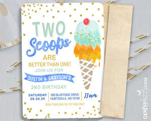 Twins Two Scoops Birthday Invitations - Joint Ice Cream Birthday Invitation Boy - Here's The Scoop Party Printable Blue Yellow Orange Green - CraftyKizzy