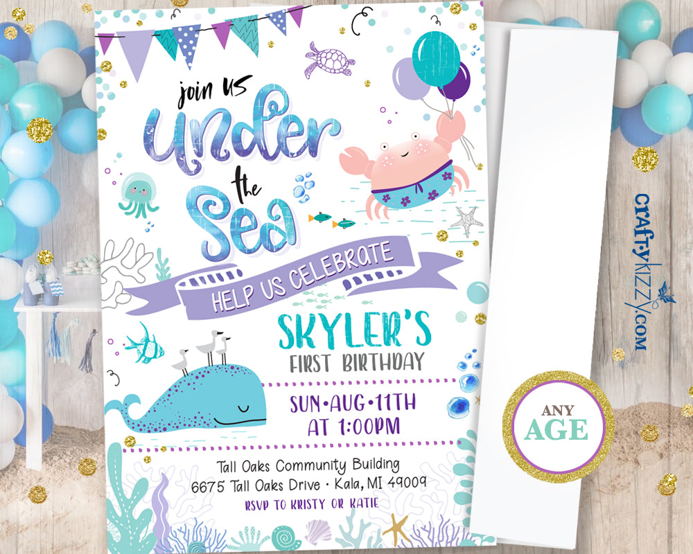 Girl First Birthday Under the Sea Invitation Watercolor Teal and Purple Ocean Birthday Party - Nautical Beach - CraftyKizzy