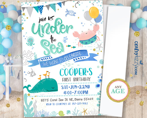 First Birthday Under the Sea Boy Invitation Watercolor Ocean Birthday Party - Nautical Beach