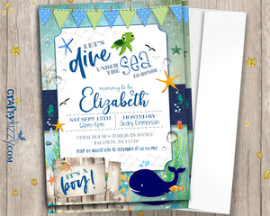 Under The Sea Baby Shower Invitations - Mommy To Be Invitation - It's A Boy Nautical Baby Shower - Ocean Sea Animals - Personalized - CraftyKizzy