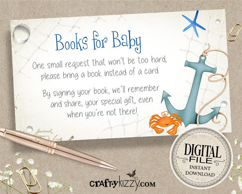 Under the Sea Books for Baby Card - Under The Sea Baby Shower Card Insert Boy - Ocean Animals Bring a Book Request Inserts - INSTANT DOWNLOAD