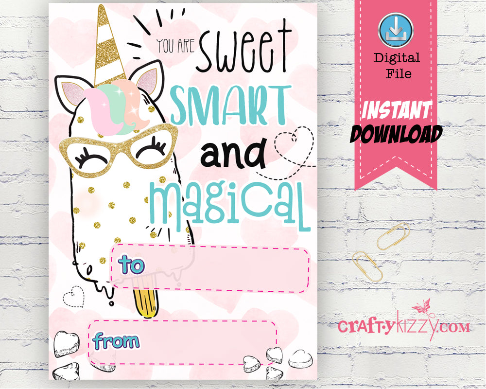 graphic about Printable Valentine Cards for Teacher called Unicorn Valentines Working day Card - Lecturers Valentines Working day Playing cards