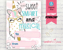 Girls Unicorn Valentines Day Cards - Girl Ice Cream Valentine's Day Card Classroom Printable Cards - INSTANT DOWNLOAD