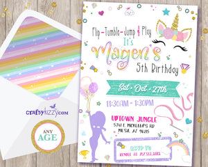 Unicorn Gymnastics Birthday Invitations - Flip Tumble Jump and Play Gymnastics Unicorns and Rainbows Invitation - CraftyKizzy