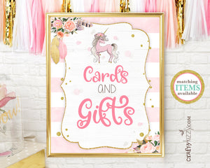 Unicorn Baby Shower Sign Cards And Gifts - Girl Pink Unicorn Birthday Table Sign - Printable Cards and Gifts Signs - INSTANT DOWNLOAD