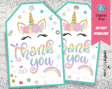 Unicorn Thank You Favor Tags - Gold Glitter Printable Tags - Rainbow Birthday Party Favor Tag - INSTANT DOWNLOAD