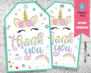 Unicorn Thank You Favor Tags - Gold Glitter Printable Tags - Rainbow Birthday Party Favor Tag - INSTANT DOWNLOAD - CraftyKizzy