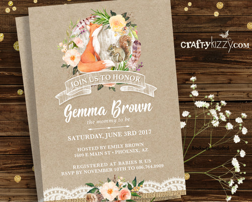 Woodland Baby Shower Invitations - Fox Unisex Invitation - Fall Baby Shower Invite - Personalized - CraftyKizzy