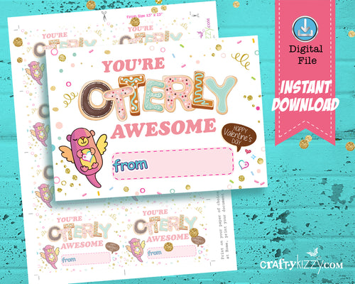 Otter Valentines Cards - Otter Puns - Girls Valentine's Day Fill In The Blank - You're Otterly Awesome Printable Classroom Cards - Kids Teachers - INSTANT DOWNLOAD