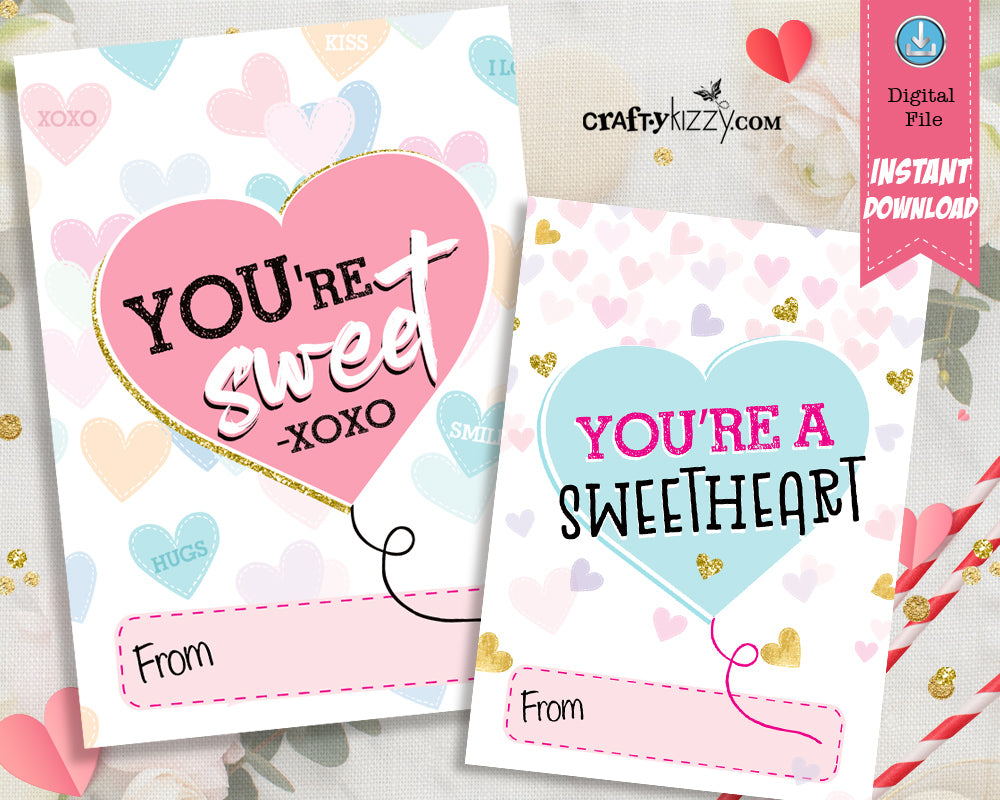 Sweetheart Valentines Day Cards for Kids - Heart Valentine Exchange Cards - XOXO Boys and Girls Valentine's Classroom Cards - INSTANT DOWNLOAD