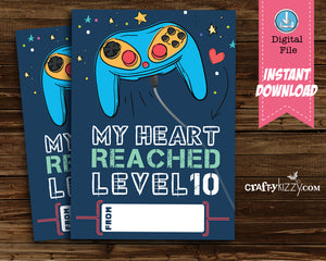 Video Games Boy Valentines Day Cards - Boys Valentine's Day Cards Teachers Classroom Printable Cards - INSTANT DOWNLOAD - CraftyKizzy