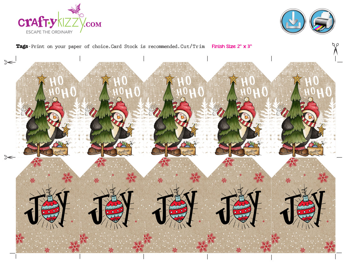 Rustic Christmas Gift Tags Vintage Holiday Party Favor Tag - Labels ...