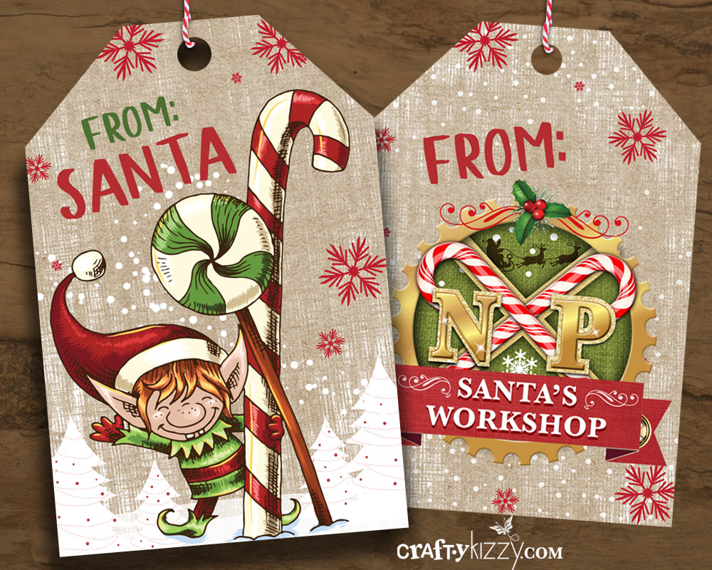 From Santa Vintage Christmas Gift Tags - North Pole Holiday Favor Tag - Party Favor Tags - INSTANT DOWNLOAD - CraftyKizzy
