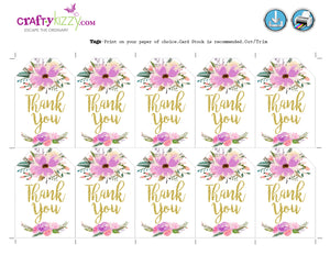 watercolor bridal shower thank you favor tags