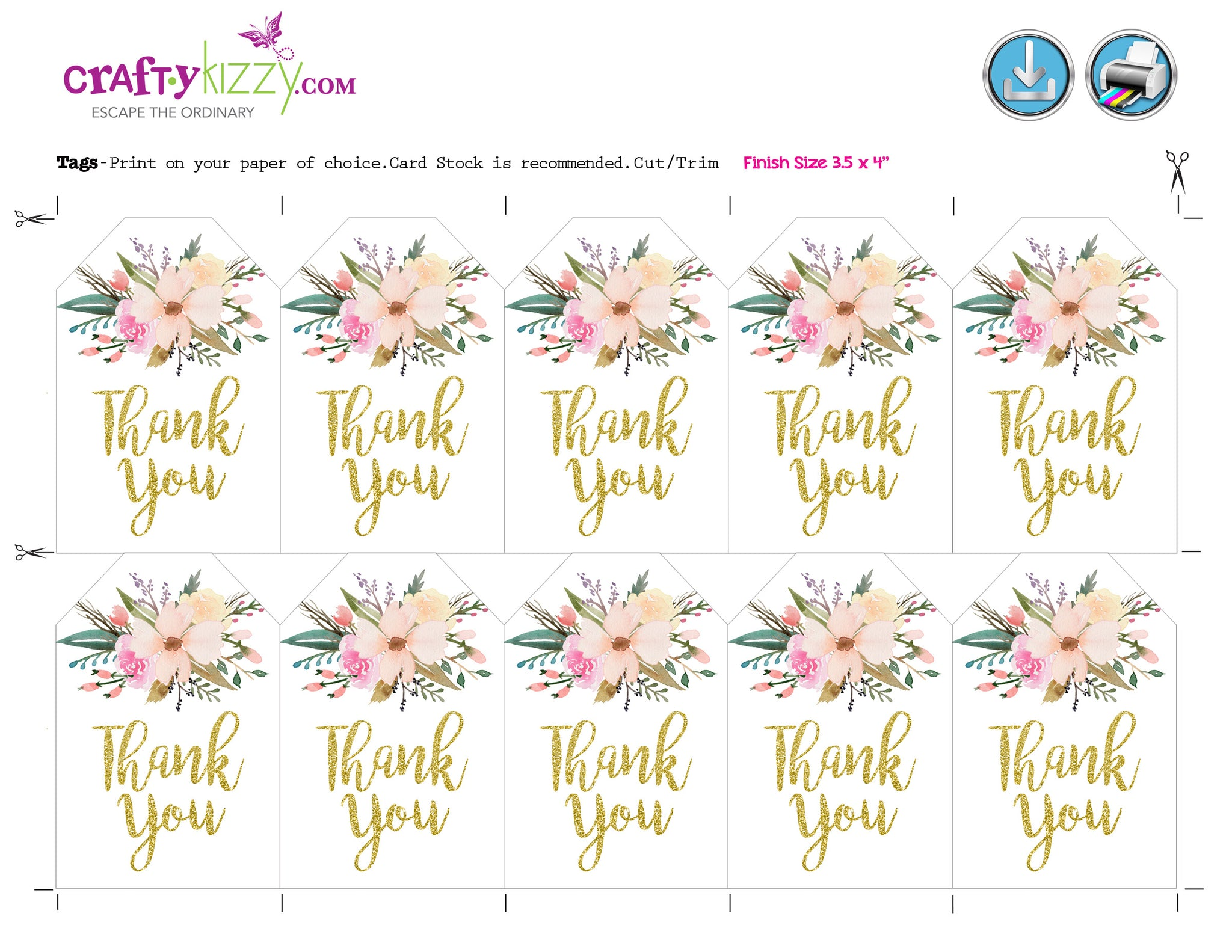 wedding floral thank you tags baby shower gold thank you tag