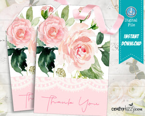 Floral Baby Shower Thank You Favor Tags - Wedding Party Favors - Wedding Favor Gift Tag - INSTANT DOWNLOAD - CraftyKizzy