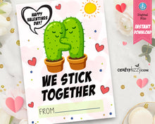 We Stick Together Cactus Puns - Valentines Day Cards For Kids - Cactus Valentine School Exchange Cards - INSTANT DOWNLOAD - CraftyKizzy