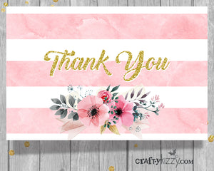 Wedding Thank You Cards Printable Bridal Shower Card - Watercolor Flowers - Baby Shower Note Card - INSTANT DOWNLOAD