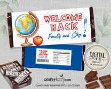 Welcome Back Faculty and Staff Candy Bar Wrappers - Printable Employee Appreciation Gift - Teacher Appreciation Chocolate Bar - CraftyKizzy