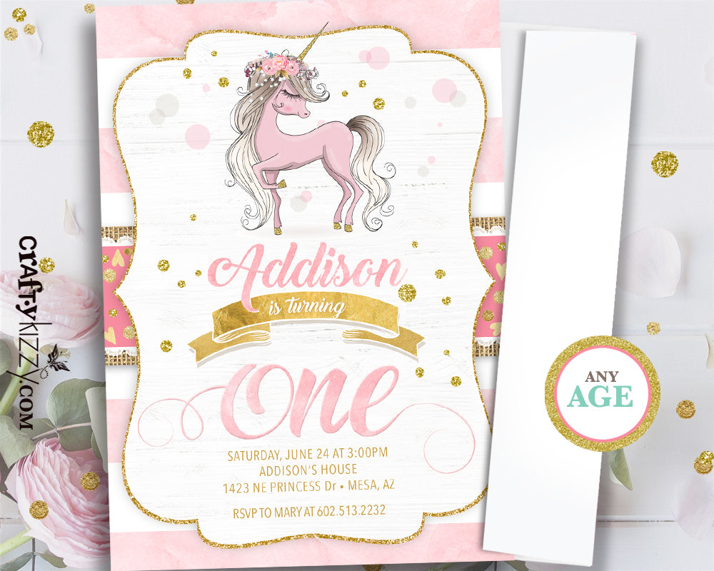 graphic relating to Printable Party Invite named Whimsical Unicorn 1st 1st Birthday Invites - Female Unicorn Invitation - Printable Get together Invite