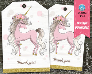 first birthday unicorn thank you tags
