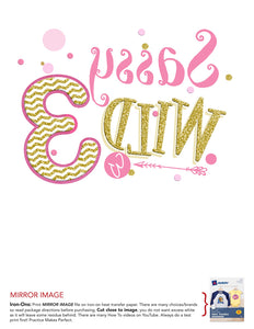 Sassy Wild and Three Iron On - Wild 3 Birthday Shirt Digital Transfer Decal - INSTANT DOWNLOAD