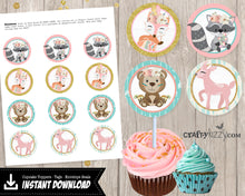 Woodland Animal Cupcake Toppers - Boho Fox Deer & Raccoon - Printable Tags or Stickers - DIY - INSTANT DOWNLOAD - CraftyKizzy
