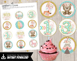 Young Wild and Three Joint Woodland Birthday Invitations - Printable Wild One Tribal Invitation - Tribal Fox - CraftyKizzy