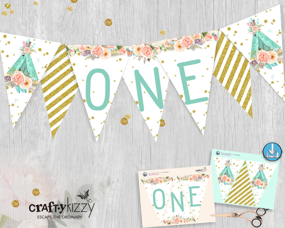 Woodland First Birthday Pennant Banner Boho Teepee Printable Garland - Bunting Flag Banner Decoration - Party Flags P0007 INSTANT DOWNLOAD - CraftyKizzy