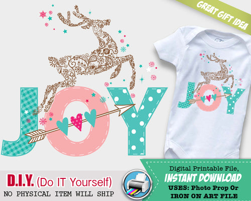 JOY Christmas Iron On Outfit - Girl First Christmas - Woodland Holiday Onsie Iron On Digital File - Do It Yourself - INSTANT DOWNLOAD