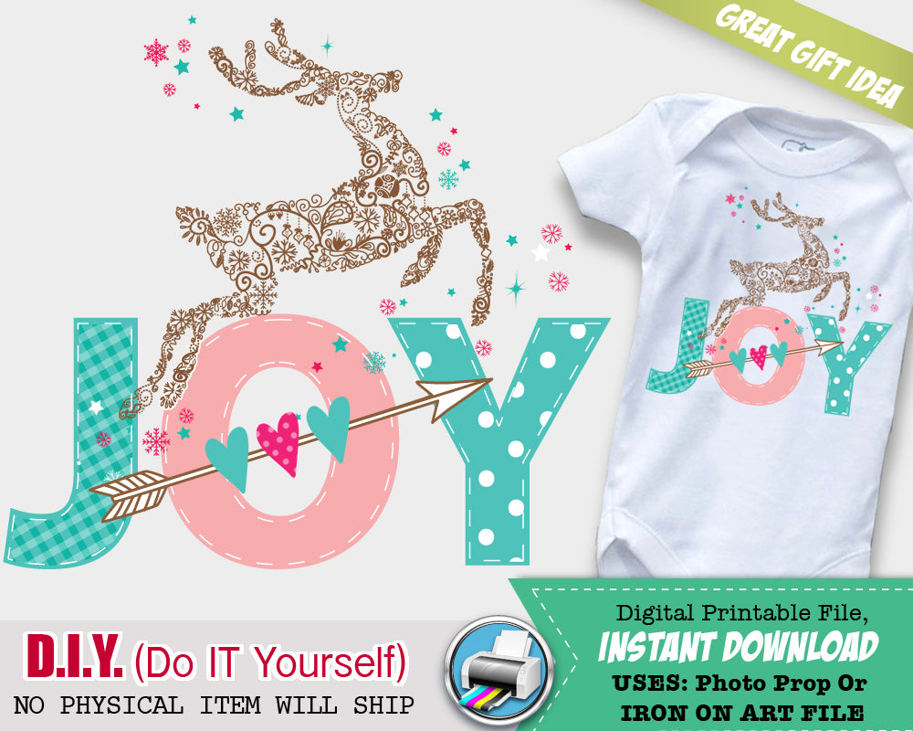 JOY Christmas Iron On Outfit - Girl First Christmas - Woodland Holiday Onsie Iron On Digital File - Do It Yourself - INSTANT DOWNLOAD - CraftyKizzy