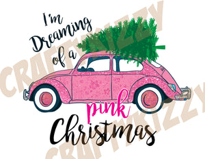 I'm Dreaming of a Pink Christmas - Vintage Retro Bug Pillow Decor - Retro Car with Christmas Tree - INSTANT DOWNLOAD - CraftyKizzy