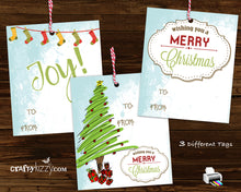 Merry Christmas Retro Gift Tags - Modern Joy Hang Tags - Includes Three Designs Favor Tags - INSTANT DOWNLOAD - CraftyKizzy