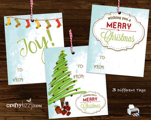 Merry Christmas Retro Gift Tags - Modern Joy Hang Tags - Includes Three Designs Favor Tags - INSTANT DOWNLOAD