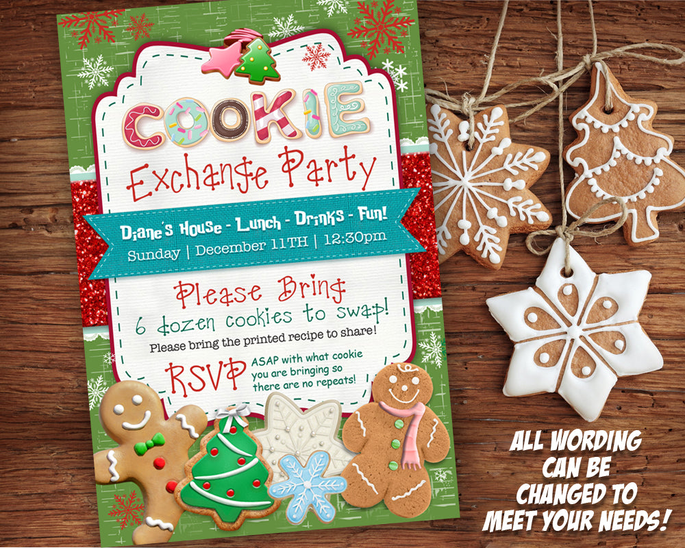 Cookie Exchange Invitation Printable Cookie Swap Invite Holiday Party Card Christmas Cookies Gingerbread Man Personalized