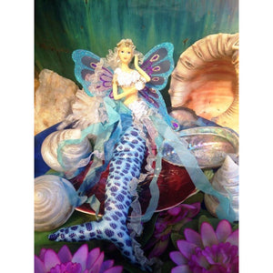 Blue Mermaid tail doll with shell flower bra handmade butterfly wings hanging ornament decoration gift