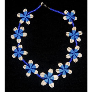 Cowrie shell necklace Flower shape design blue twine and glass beads
